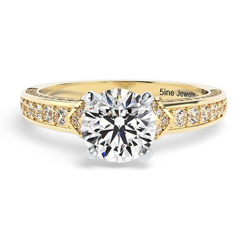 Round Brilliant Cut Micro Diamond Pave Engagement Ring