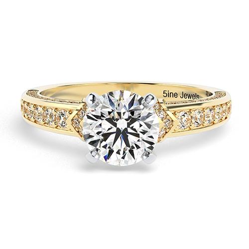 Round Brilliant Cut Micro Diamond Pave Engagement Ring