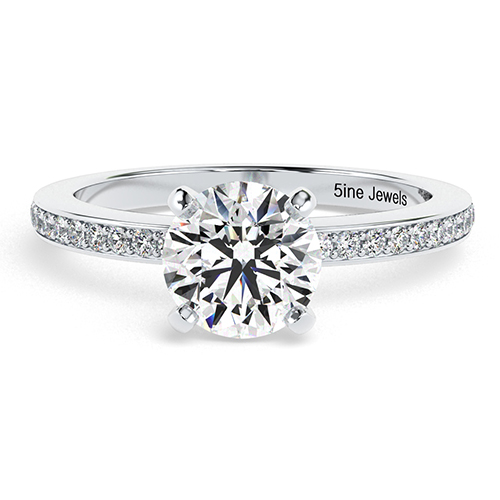 Round Brilliant Cut Vintage Style Micro Diamond Pave Engagement Ring