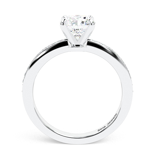 1.20 Ct SI1 H Round Brilliant Cut Vintage Style Micro Diamond Pave Engagement Ring 18K-White Gold