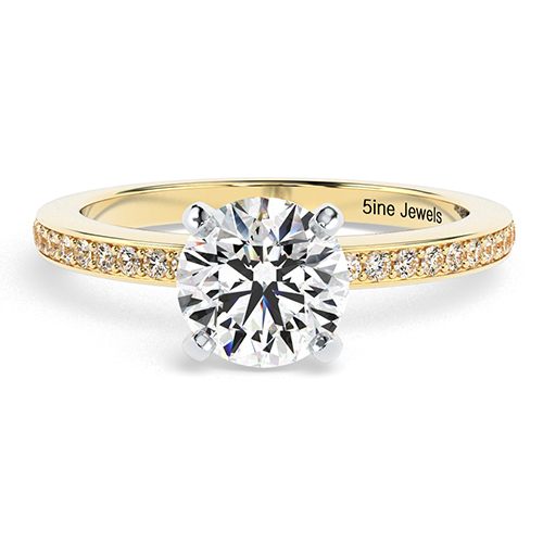 Round Brilliant Cut Vintage Style Micro  Side Stone  Engagement Ring