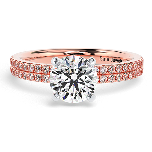 Round Brilliant Cut Double Row  Side Stone  Engagement Ring