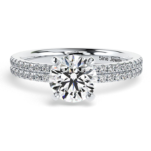 Round Brilliant Cut Double Row Diamond Pave Engagement Ring