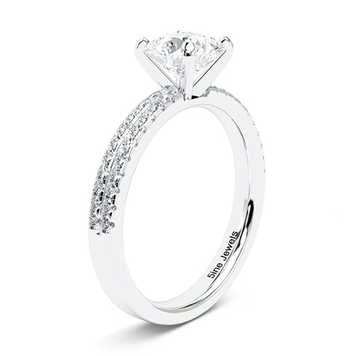 1.35 Ct SI1 G Round Brilliant Cut Double Row Diamond Pave Engagement Ring 18K-White Gold