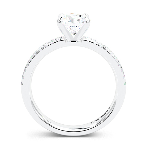 Round Brilliant Cut Double Row Diamond Pave Engagement Ring 18K-White Gold