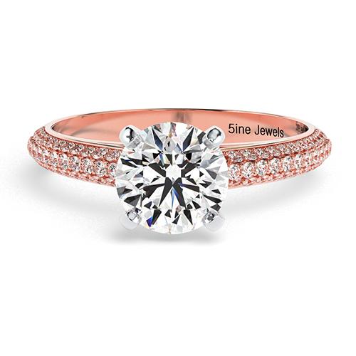 Round Brilliant Cut Three Row Micro  Side Stone  Engagement Ring