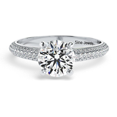 Round Brilliant Cut Three Row Micro  Side Stone  Engagement Ring