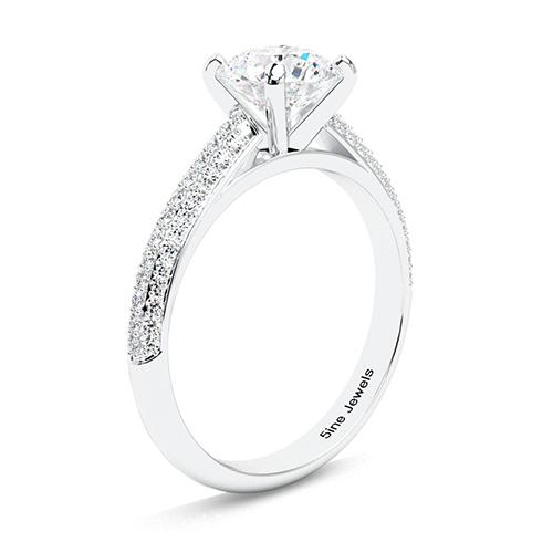 1.40 Ct SI2 H Round Brilliant Cut Three Row Micro Diamond Pave Engagement Ring 18K-White Gold