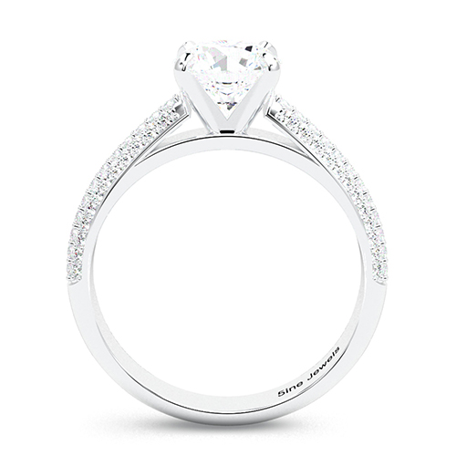 1.40 Ct SI2 H Round Brilliant Cut Three Row Micro Diamond Pave Engagement Ring 18K-White Gold