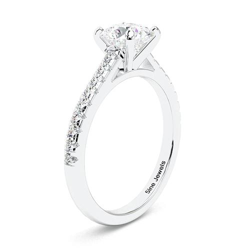 1.25 Ct SI1 H Round Brilliant Cut Blue Sapphire Diamond Pave Engagement Ring 18K-White Gold