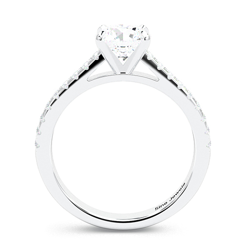 Round Brilliant Cut Micro Pave  Side Stone  Engagement Ring