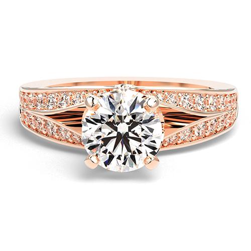 Round Brilliant Cut Split Shank  Side Stone  Engagement Ring