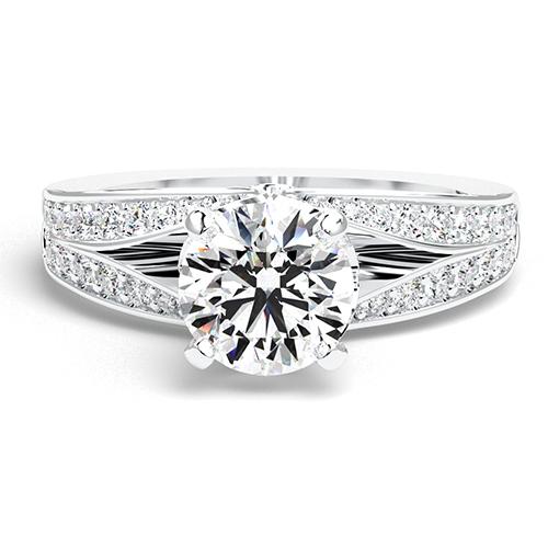 Round Brilliant Cut Split Shank Diamond Pave Engagement Ring