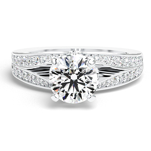 Round Brilliant Cut Split Shank Diamond Pave Engagement Ring