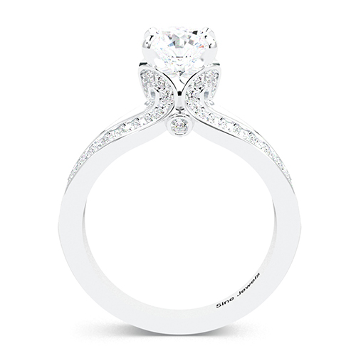 1.40 Ct VS2 G Round Brilliant Cut Split Shank Diamond Pave Engagement Ring 18K-White Gold