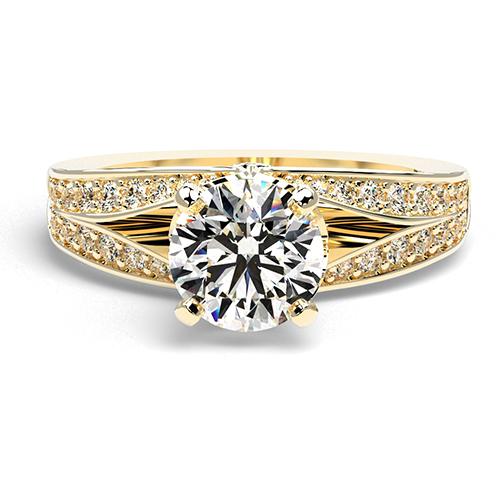 Round Brilliant Cut Split Shank Diamond  Engagement Ring