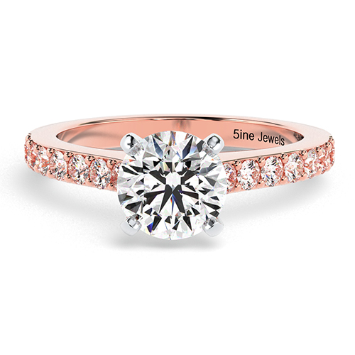 Round Brilliant Cut Vintage Style Diamond  Engagement Ring
