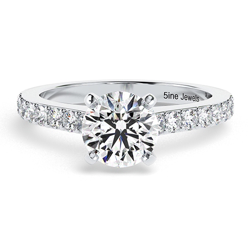 Round Brilliant Cut Vintage Style Diamond Pave Engagement Ring