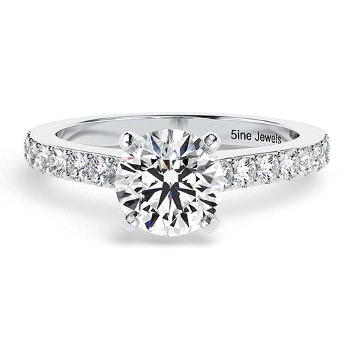 Round Brilliant Cut Vintage Style Diamond Pave Engagement Ring