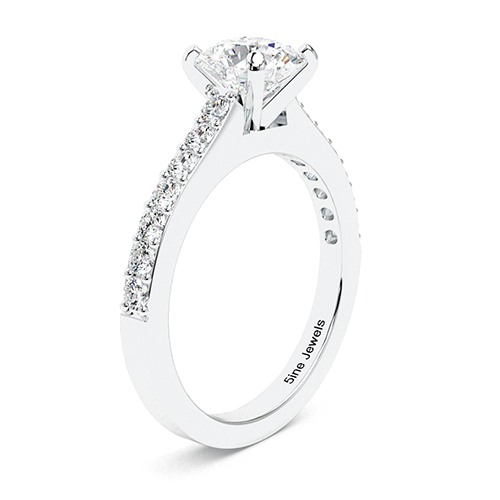 1.45 Ct SI1 E Round Brilliant Cut Vintage Style Diamond Pave Engagement Ring 18K-White Gold