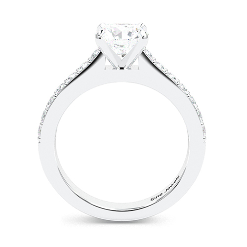 Round Brilliant Cut Vintage Style  Side Stone  Engagement Ring