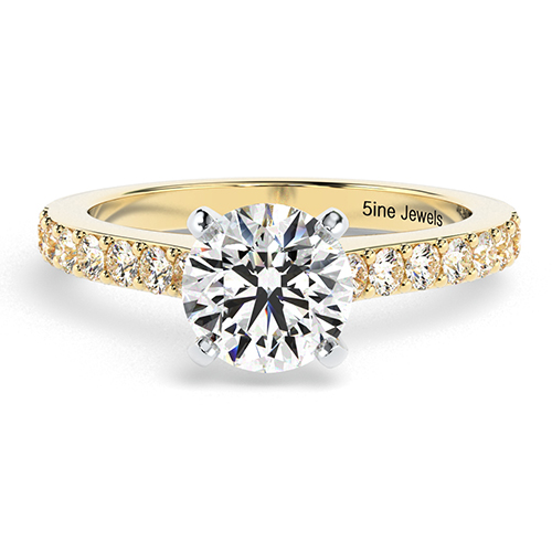 Round Brilliant Cut Vintage Style Diamond  Engagement Ring