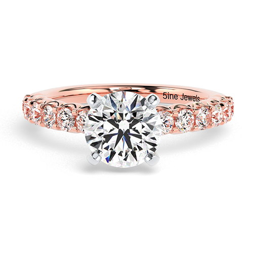 Round Brilliant Cut Simple  Side Stone  Engagement Ring