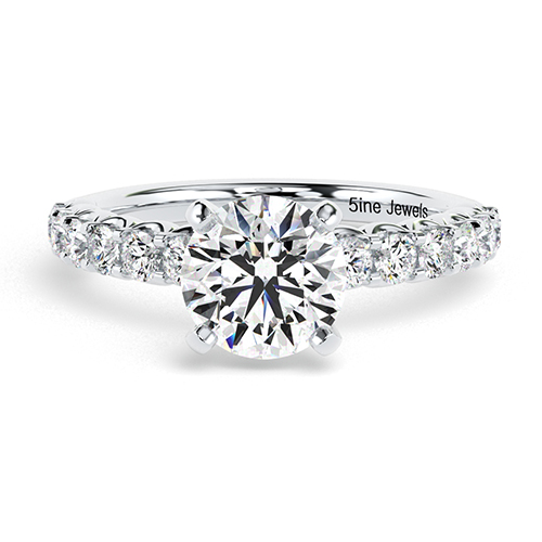 Round Brilliant Cut Simple Diamond Pave Engagement Ring 18K-White Gold