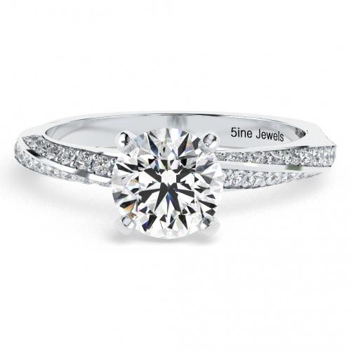1.10 Ct SI2 G Round Brilliant Cut Twist Diamond Pave Engagement Ring 18K-White Gold