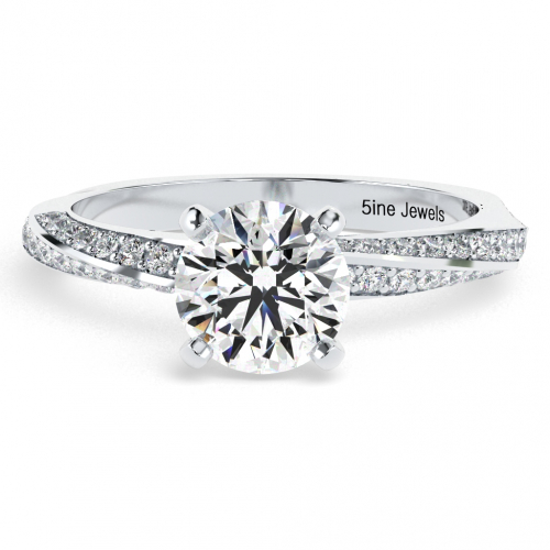 Round Brilliant Cut Twist Diamond Pave Engagement Ring