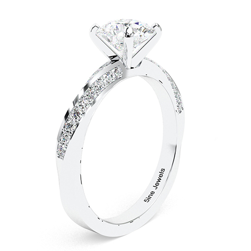 1.10 Ct SI2 G Round Brilliant Cut Twist Diamond Pave Engagement Ring 18K-White Gold