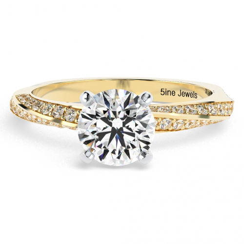 Round Brilliant Cut Twist  Side Stone  Engagement Ring