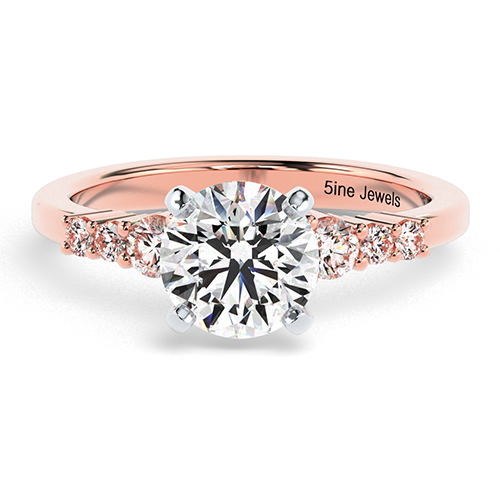 Round Brilliant Cut Petite 6 Stone  Side Stone  Engagement Ring