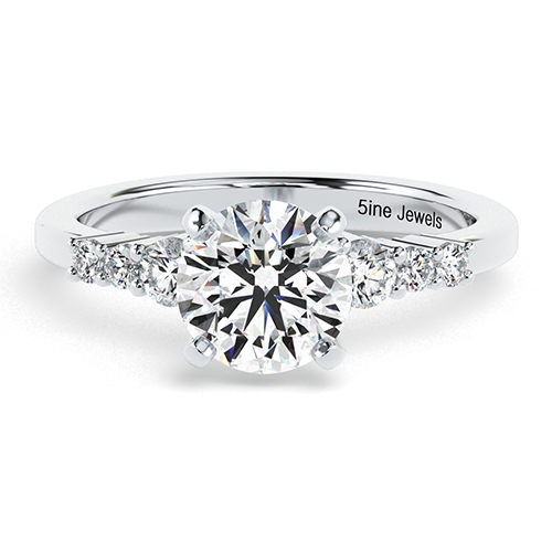 1.25 Ct SI2 H Round Brilliant Cut Petite 6 Stone Diamond Pave Engagement Ring 18K-White Gold