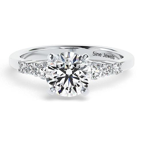 1.30 Ct SI2 H Round Brilliant Cut Petite 6 Stone Diamond Pave Engagement Ring 18K-White Gold