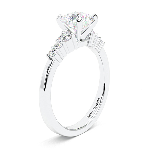 1.30 Ct SI2 H Round Brilliant Cut Petite 6 Stone Diamond Pave Engagement Ring 18K-White Gold