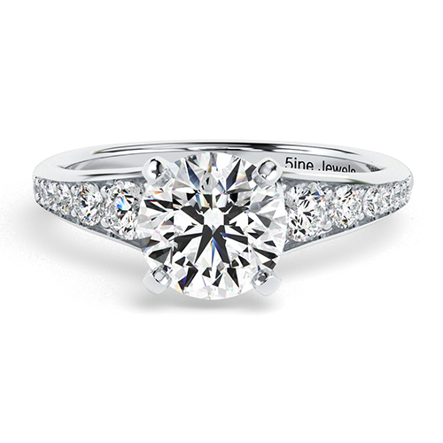 Round Brilliant Cut Contemporary Descending Diamond Pave Engagement Ring