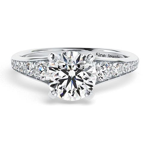 Round Brilliant Cut Contemporary Descending Diamond  Engagement Ring