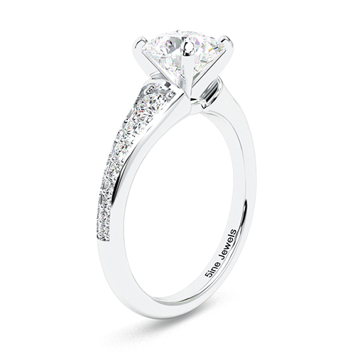 1.35 Ct SI2 F Round Brilliant Cut Contemporary Descending Diamond Pave Engagement Ring 18K-White Gold