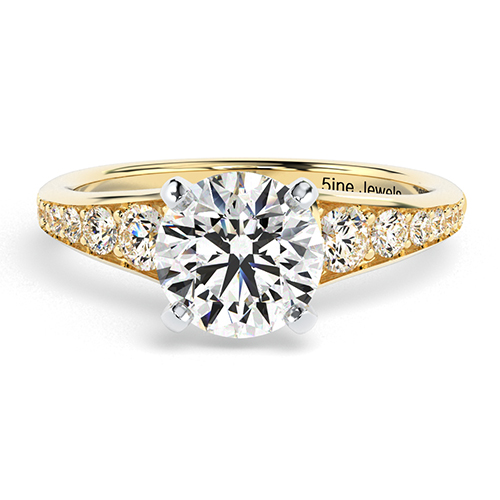 Round Brilliant Cut Contemporary Descending  Side Stone  Engagement Ring