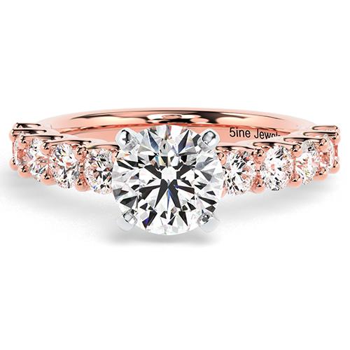 Round Brilliant Cut U Prong Set  Side Stone  Engagement Ring
