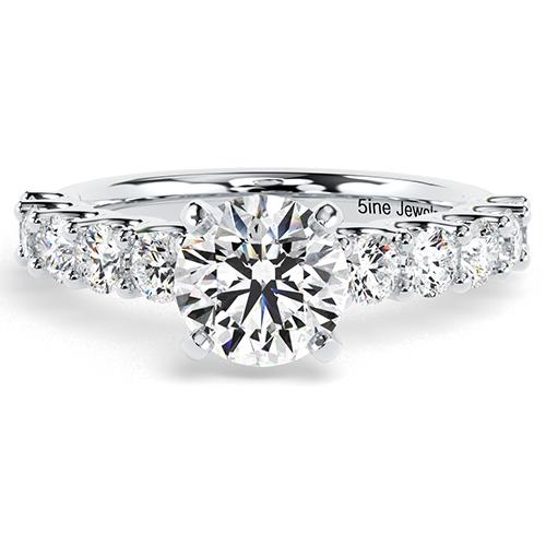 1.80 Ct SI2 G Round Brilliant Cut Blue Sapphire Diamond Pave Engagement Ring 18K-White Gold