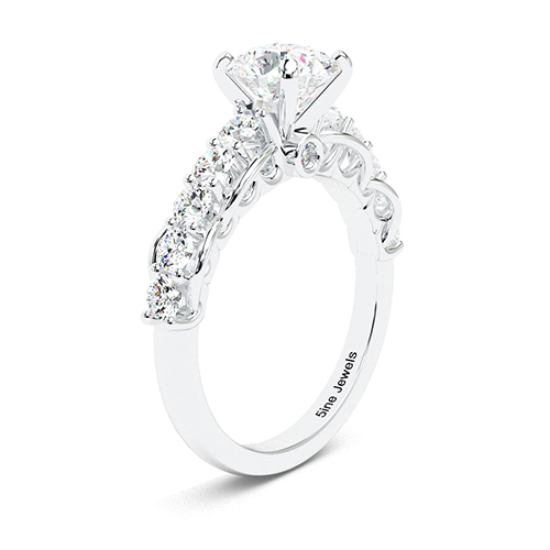 1.80 Ct SI1 H Round Brilliant Cut Petite Diamond Pave Engagement Ring 18K-White Gold
