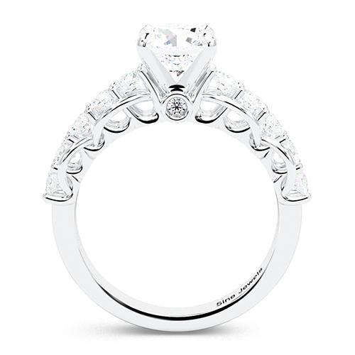 1.80 Ct SI1 H Round Brilliant Cut Petite Diamond Pave Engagement Ring 18K-White Gold