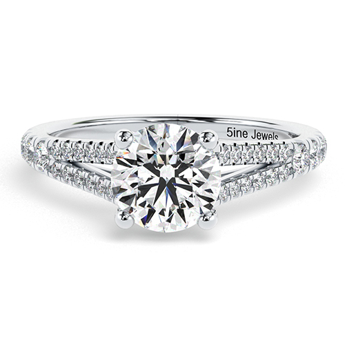 1.30 Ct SI2 G Round Brilliant Cut Split Shank Diamond Pave Engagement Ring 18K-White Gold