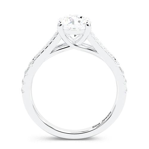 1.30 Ct SI2 G Round Brilliant Cut Split Shank Diamond Pave Engagement Ring 18K-White Gold