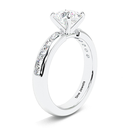 1.45 Ct SI1 H Round Brilliant Cut Channel Set Diamond Pave Engagement Ring 18K-White Gold