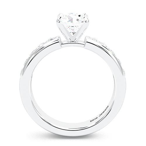 Round Brilliant Cut Channel Set  Side Stone  Engagement Ring