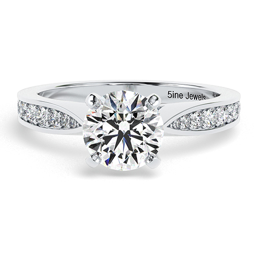 1.25 Ct VS2 I Round Brilliant Cut Vintage Tap up Diamond Pave Engagement Ring 18K-White Gold