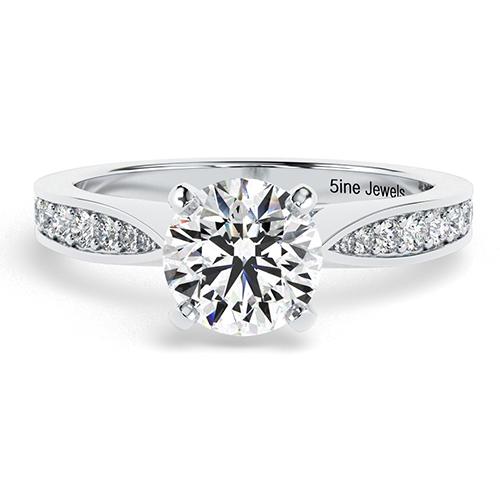 1.25 Ct VS2 I Round Brilliant Cut Vintage Tap up Diamond Pave Engagement Ring 18K-White Gold